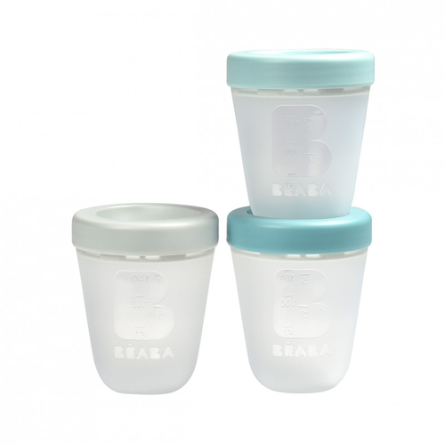 Béaba Lot de 3 Pots Silicone 200ml Jungle