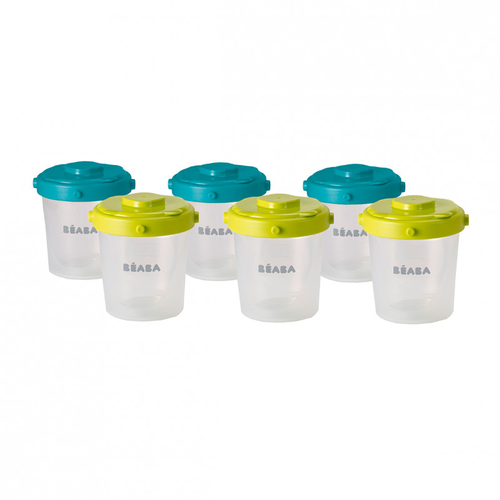 Beaba Lot de 6 Portions Clip 2eme Age 200ml Neon