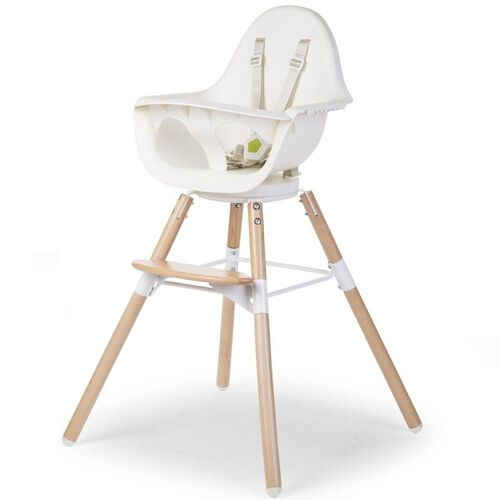 Childhome Chaise Haute Evolu One 80° + Arceau White/Naturel