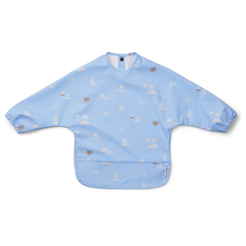 Liewood Bavoir Manches Longues Merle Sea Side Sky Blue