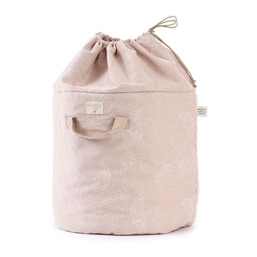 Nobodinoz Sac de rangement Bamboo White Bubble/ Misty Pink